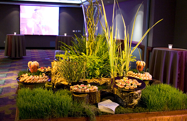 Catering table with food displays