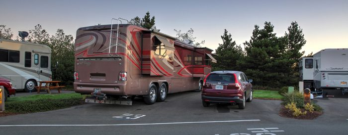 RV and car in Pull-In Sites