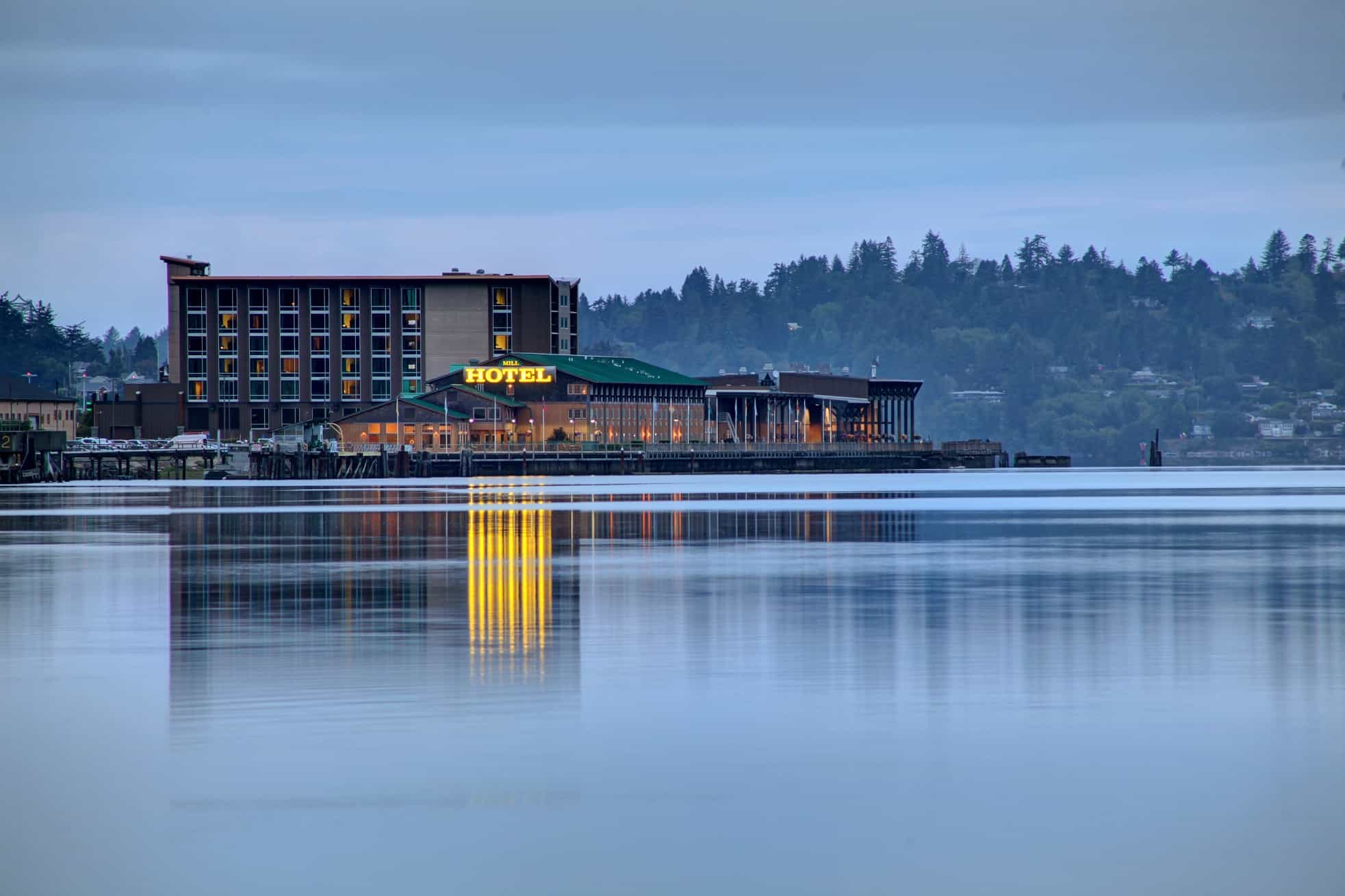 The Mill Casino hotel exterior from across the bay
