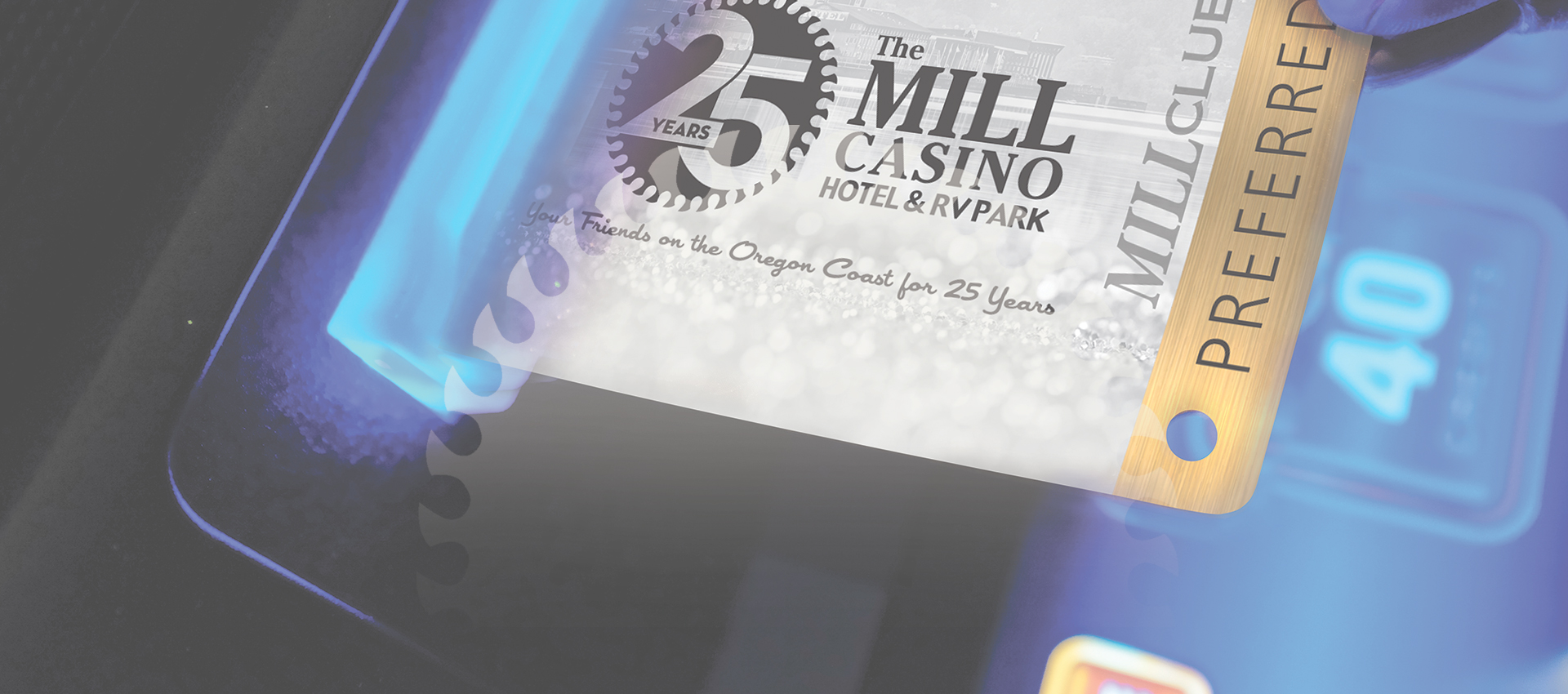 The Mill Casino Preferred Card going into card slot