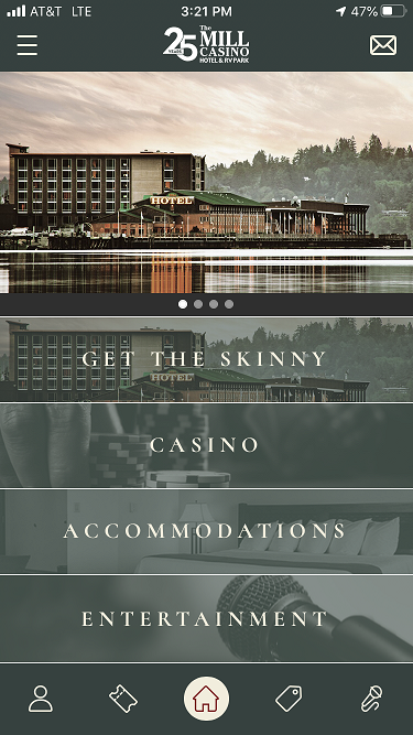 The Mill Casino app homepage