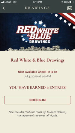 The Mill Casino app drawings example page: Red White & Blue Drawings check-in