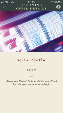 The Mill Casino app upcoming offer details page