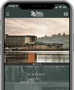 Mobile phone showing The Mill Casino app