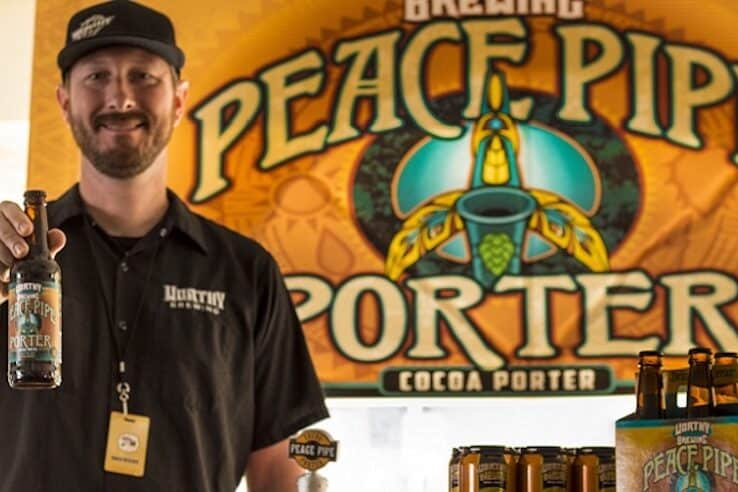 Peace Pipe Porter beer being offered