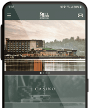 The Mill Casino app open on a cell phone